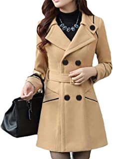 Women Lapel Winter Wool Blend Double Breasted Pea Coat Trench Coat
