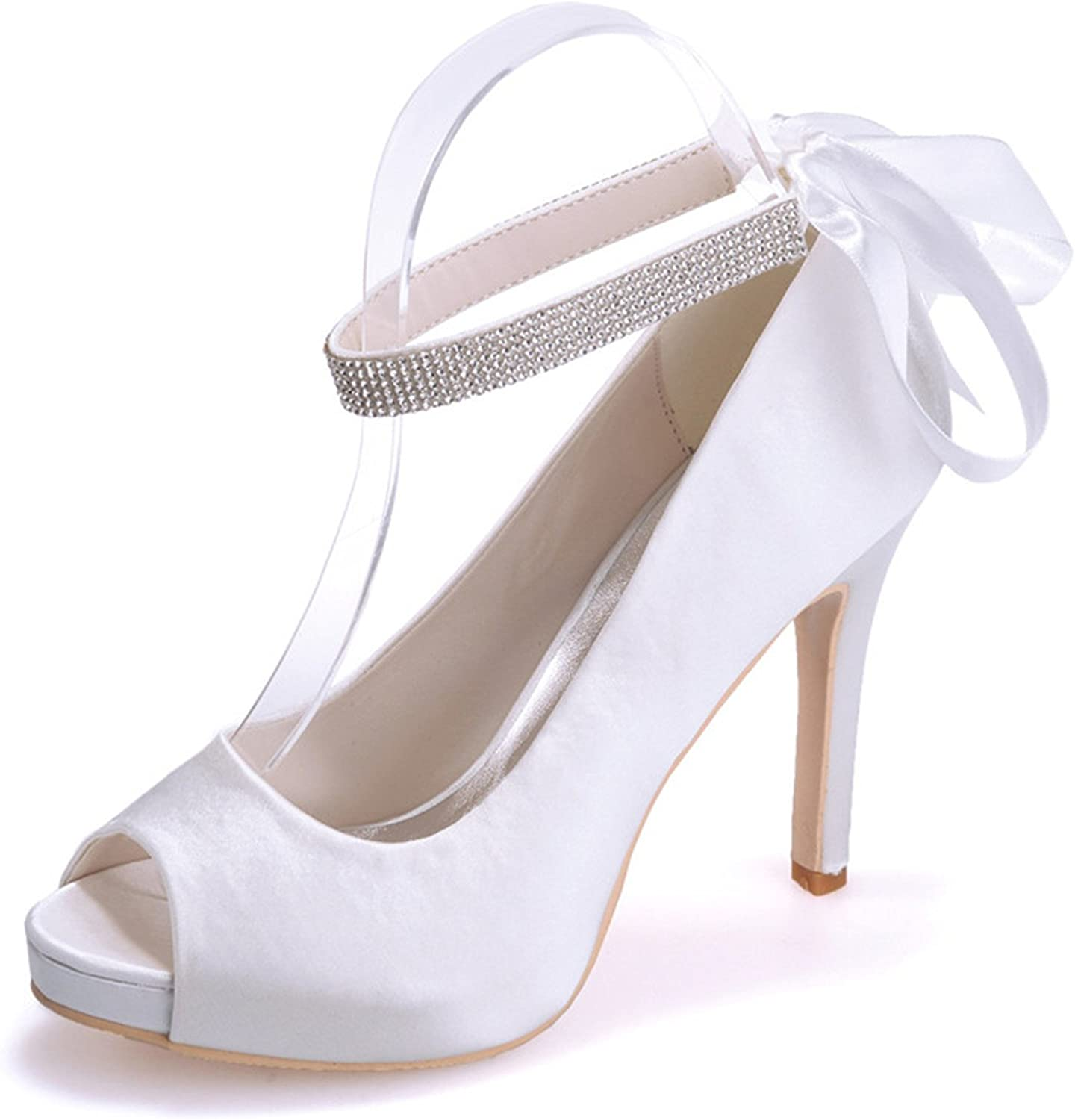 Fanciest Woherrar Bridal bröllop Party Evening Evening Evening Peep -Toe Beads hög klack Pump skor 604  skön