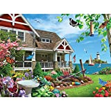 Bits and Pieces - 1000 Piece Jigsaw Puzzle for Adults 20' x 27' - Blooming Beach House - 1000 pc Beach House Bird Flower Coast Jigsaw by Artist Alan Giana