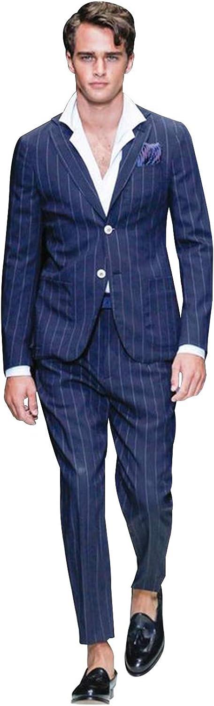 P&G Men's Stripe Two-Piece Suit NotchLapel Two Buttons Classic-Fit Suit