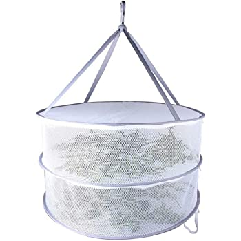 Herb Drying Rack Clothes Drying Rack 2 Layers Hanging Drying Rack for Buds & Hydroponic Plants or Delicates with Zippers Collapsible Net Dryer White Mesh Net with Carry Bag