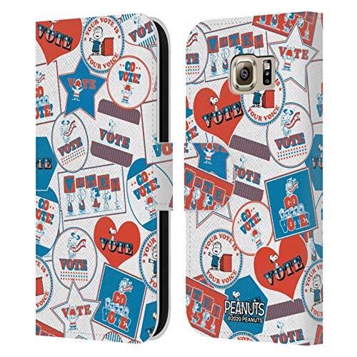 Head Case Designs Licenciado Oficialmente Peanuts Patrón no Adhesivo. Tu Voto es tu Voz Carcasa de Cuero Tipo Libro Compatible con Samsung Galaxy S6