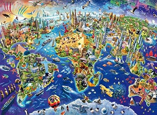Casual moeilijkheidsgraad,geen merk puzzel 1000 stuks wereldkaart kleurrijke houten puzzel witte kaart decompressie speelgoed voor kinderen volwassen decompressie-75x50cm