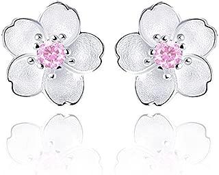 Girls Hypoallergenic Sterling Silver Flower Stud Earrings, Cubic Zirconia Crystal Charm Piercing Studs for Women – Daisy, Sunflower, Cherry, Rose