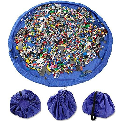 VStoy Alfombra de Juego con fácil Almacenamiento, se pliega en un Bolso Bandolera (Ideal para Lego, Duplo y Otros Juguetes de los niños para Recoger rápidamente)(Grande - 150 cm) (Azul)