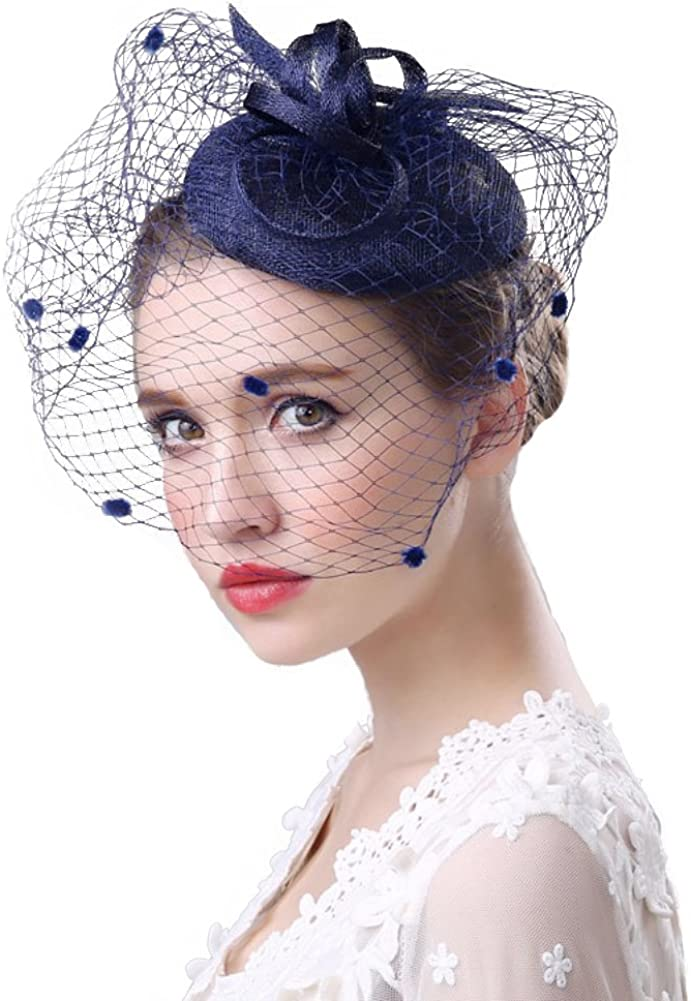 Fascinator Hats for Women Ladies Flower Mesh Feather Pillbox Hat with Veil Headband and a Clip Tea Party Headwear