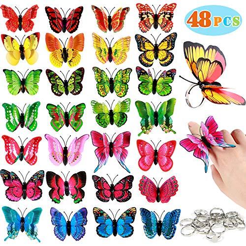 Latocos 48stk Schmetterling Ringe Kinder Mitgebsel Kindergeburtstag Schmetterling Kostüm Schmuck Kindergeburtstag Gastgeschenke Mädchen Jungen