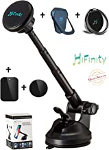 New HiFinity 2in1: Magnetic Car Mount Arm + 2 Metal Finger-Rings Bundle. All Phones. Steady Aluminum Telescopic Long Arm Holder, Super Strong Magnet 6X, Powerful Grip to Windshield, Dashboard/Desk