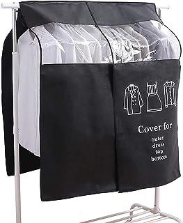 EXLECO Housse Protège Housses de Vêtements 90 × 110cm Noir Housse de Anti-Poussière Protection Portant Universelle Garment...