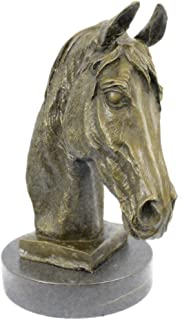 Handmade European Bronze Sculpture Signed Barye Unique Bust Horse Head Marble Base Figure Bronze Statue -UKYRD-670-Decor Collectible Gift