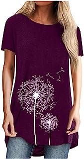 Mingyun Damen T-Shirt Sommer Kurzarm Oberteile Druck Löwenzahn Tunika Rundhals Longshirt Lose elegant Bluse Top Tshirt