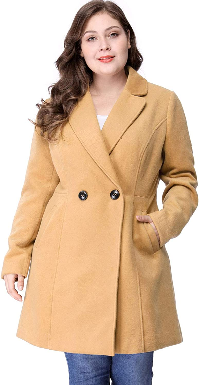 Agnes Orinda Women's Plus Size Winter Outwear Long Sleeve Button Closure Lapel Peacoat