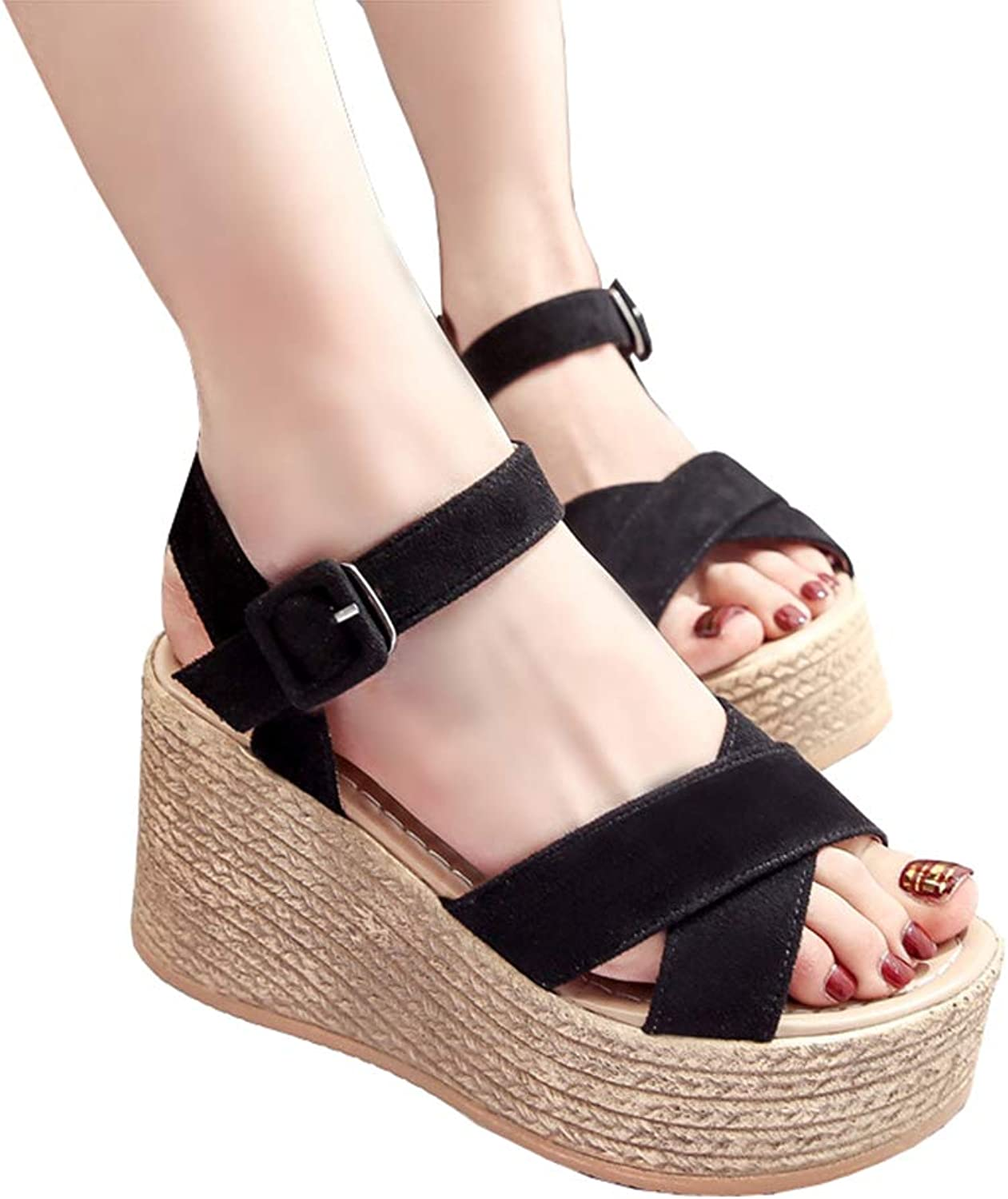 Sandals Womens Summer Synthetic Wedge Heel Ladies Leisure Peep Toe Platform Casual Sandals Chunky shoes