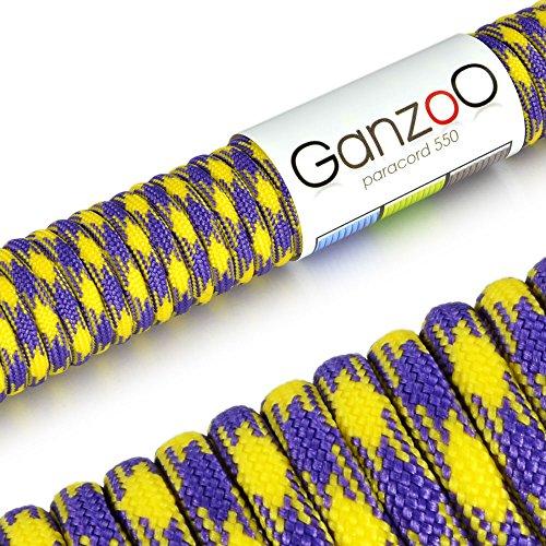 Ganzoo Corde de Parachute indéchirable paracorde 550 (Manteau noyau en corde en nylon), 550lbs, longueur totale 15 m (50 FT) couleur : jaune/violet – Ganzoo