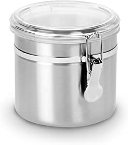 Anchor Hocking Round Stainless Steel Canister with Clear Acrylic Lid and Locking Clamp, 34 oz (Set of 4)