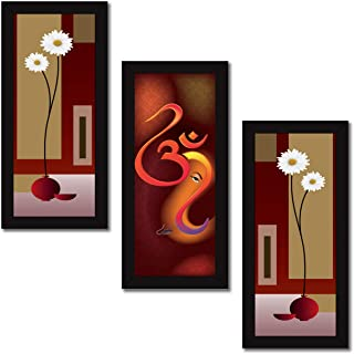 LADECOR Set of 3 Wall Painting with Frames Ganesha Painting Wall Art Hanging Design-24