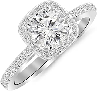 1.75 Carat 14K White Gold Cushion Halo GIA Certified Round Cut Diamond Engagement Ring (1.5 Ct D Color VS2 Clarity Center Stone)