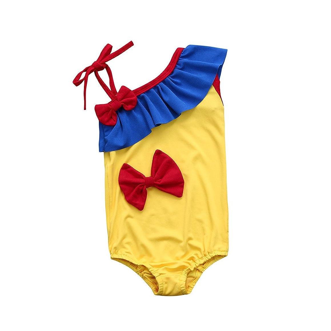 Fartido Baby Girl Mickey Mouse Swimsuit Bowknot Single Strape Bikini Ckohtes