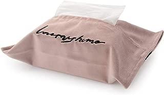 DOKOT Velvet Tissue Box Holder Embroidered Napkin Case Container for Car Home Decoration Pink