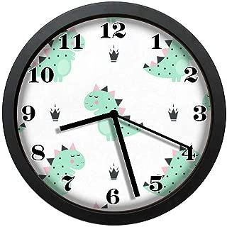 wojuedehuidamai6 Wall Clock - Cute Dinosaur Crowns Decor Retro Wall Clock - Art Wall Clock - Silent Wall Clock - Digital Wall Clock - Large Wall Clock with 12in