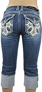 L.A. Idol Women Capri Jeans Angel Cross Flap Stretch in Med Blue