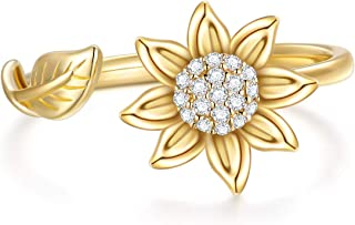 SISGEM Sunflower Ring Solid 14k Gold Flower Band Ring Moissanite Leaf Open Adjustable Ring for Women Girls You are May Sun...