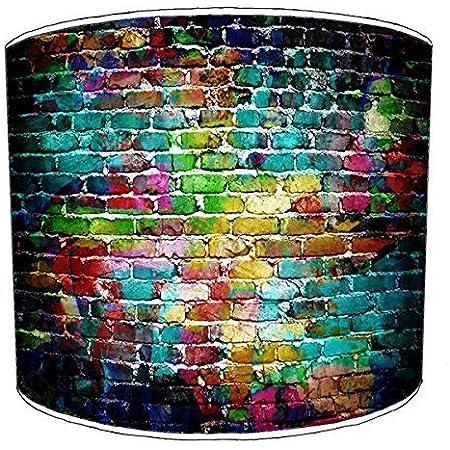 Premier Lighting Ltd 10 inch Brick Wall Graffiti Wall Art Abat-Jour 2 pour Une Lampe de Table