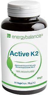 Vitamina K2 activa avanzada MK-7 75µg | 100% biológicamente activa All-Trans-Isomers | Vegano | Sin gluten | Sin OGM | 90 VegeCaps
