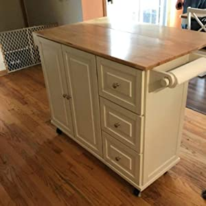 Rolling Kitchen Island Buffet Cart with Drop Leaf Wood Top Mobile Breakfast Bar Kitchen Storage Cabinet 3 Drawer Spice Rack and Towel Holder Sideboard Dining Food Prep Kitchen Serving Table