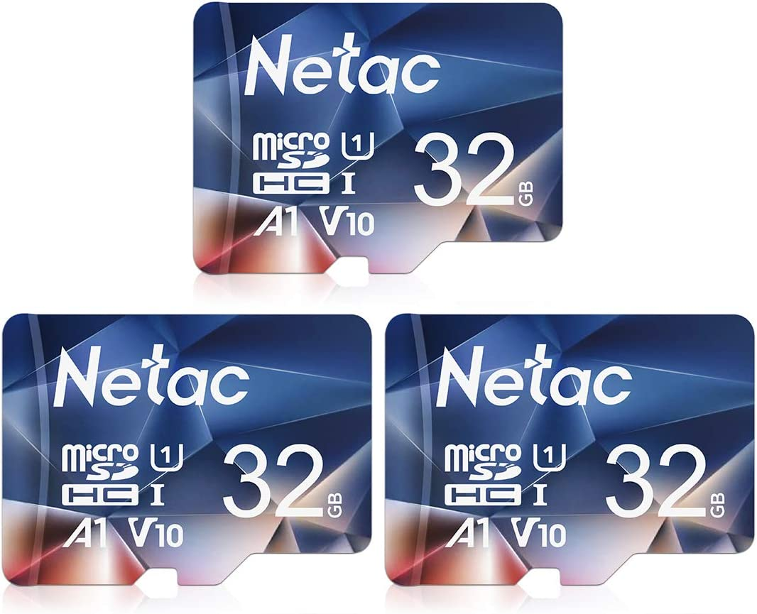 Netac Micro SD Card 32GB 3 Packs, Mini TF Memory Card with up to 90 MB/s, UHS-1, Class 10, SDHC, FAT32, V10, A1, FHD