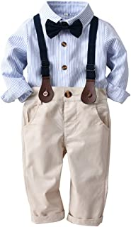 GoodLock Baby Boys Gentleman Clothes Toddler Striped Bowtie Long Sleeve Shirt+Overall Pants Outfits 4Pcs