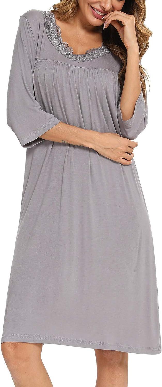 YYA Nightgowns for Women 3//4 Sleeve Sleepwear Lace Comfy Sleep Gowns Pleated V Neck Nightshirt S-3XL