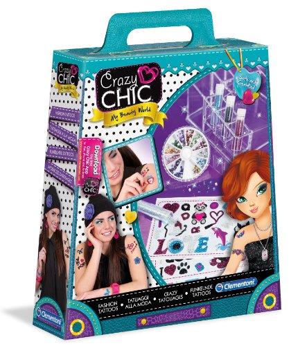 Clementoni 15959 Crazy Chic Pochette de Maquillage Tatouages à la Mode