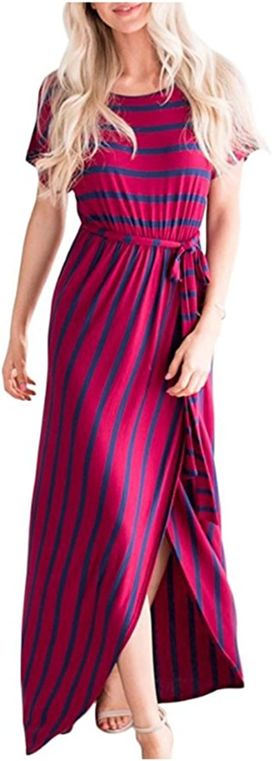 Weyarsu Women's Casual Long Sleeve Slit Solid Party Summer Long Maxi Dress
