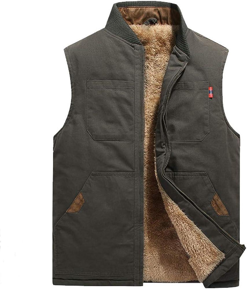 ZENTHACE Men's Sherpa Lined Full Zip Vest Canvas Sleeveless Jacket