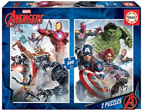 Educa Borras - Serie Marvel Avengers, 2 puzzles de 500 piezas Marvel mania (17994)