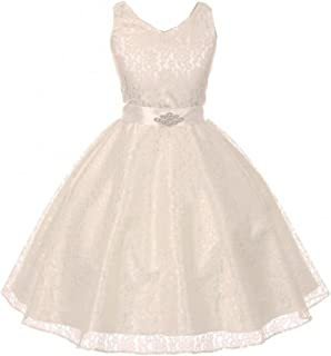 58b31d8b02 Girls Dress Lace Floral Pattern Rhinestones Junior Bridesmaid Flower Girl  Dress