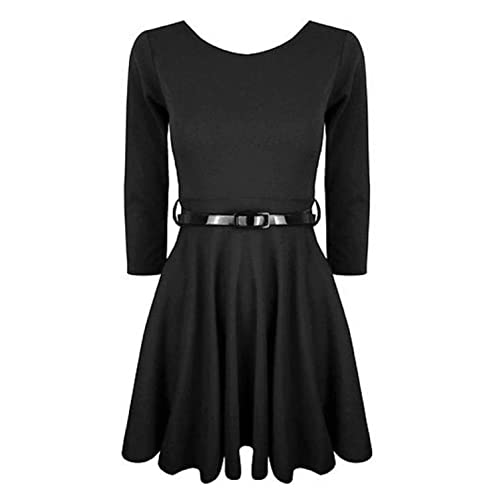 Hot Hanger Girls 3/4 Sleeve Belted Skater Dress Top