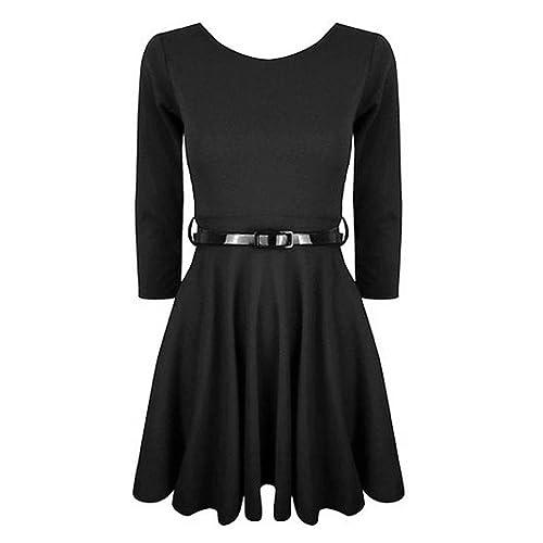 Hot Hanger Girls 3/4 Sleeve Belted Skater Dress Top