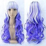 Gradient Color Cosplay Anime Peluca Cos Harajuku Style Color Mujer Gorro de pelo largo y rizado Lolita
