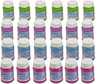 Kicko Happy Birthday Bubbles Assorted Color Mini 1 Oz Bubble Bottles 24 Pack - for Children, Parties, Party Favors, Games, Fun, Play, and Celebrations