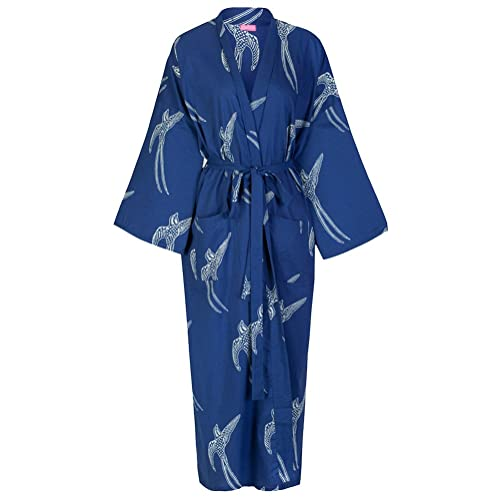 Ladies Cotton Dressing Gown Kimono Robe   Lightweight 100% cotton. Hand 15459fefd