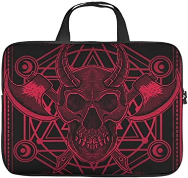 Funny Laptop Sleeve Tarot Red Mandala Pattern Skull Pattern Notebook Bag Water Repellent Neoprene Tablet Briefcase for Co-Workers Friends White 13inch
