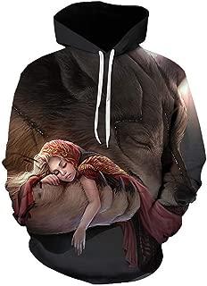 Yd-zx Men's Tops 3D Printed Hoodies Sweater Animal Pattern Pullover Hooded Sweater Sweatshirt