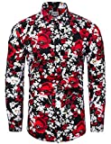 TUNEVUSE Men Floral Dress Shirts Long Sleeve Casual Button Down Flower Printed Shirts 100% Cotton Red Floral Print Large