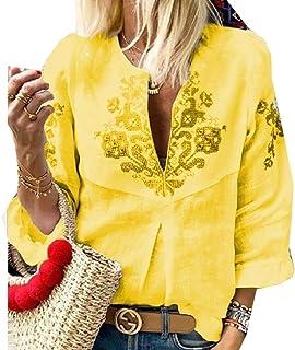 Comaba Women Tops Navajo Print Fashion 3/4 Sleeve Sexy V-Neck Tee Shirt