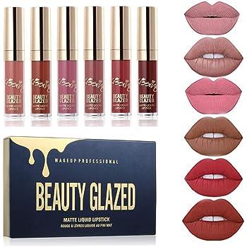 Beauty Glazed - set di rossetti liquidi opachi, gamma di colori da rosso chiaro a rosso scuro, waterproof, a lunga durata, non macchiano, pigmenti intensi, cruelty free, vegani