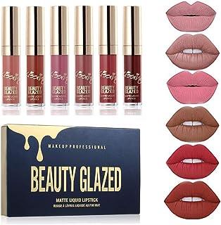 Beauty Glazed - Juego de pintalabios líquido mate 6 colores resistente al agua de larga duración antiadherente pigment...