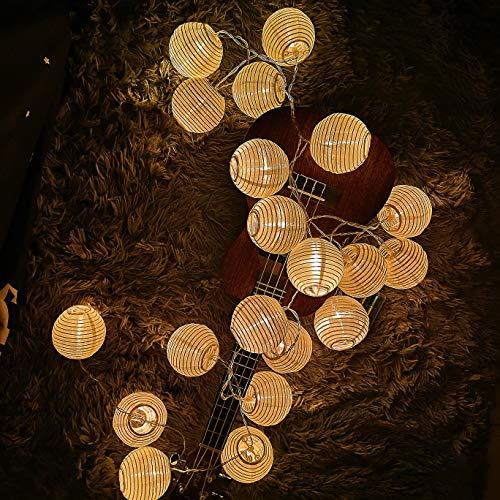 Guirlande Lanterne, Guirlande Lumineuse 3,2M 20LEDs, Lanterne Chinoise, Guirlande à Pile Guinguette Décoraion Intérieure Extérieure Chambre Jardin Mariage Anniversaire Mur Fenêtre