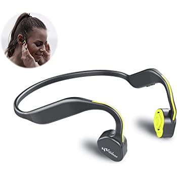 Bone Conduction Headphones Bluetooth V5.0 - Vidonn F1 Sports Open Ear Wireless Headset Sweatproof w/Mic - for Cycling Running Driving Gym - Yellow